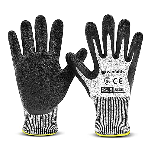 Winfaith Guanti da Lavoro Uomo Donna Antitaglio Protezione di Livello 5 Certificato EN 388 - Comodi e Leggeri - Presa salda per Meccanico, Giardinaggio, Cucina - Lavabili in Lavatrice (1, XL / 10)