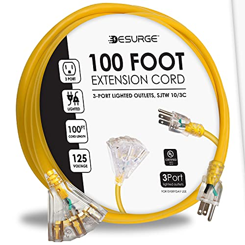 Digital Energy - Outdoor Heavy Duty 10AWG Extension Cord - 100 Ft | 3 Lighted Outlets, 15A, 125V, 60Hz, 1825W - UL Listed (Yellow)