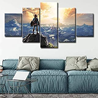 Art0264 5 Piece Wall Art Canvas Prints Modular Home Wall Art 5 Panel Zelda Breath of The Wild Poster Painting Hd Prints Pictures Canvas Living Room Decoration Framed (31.5 X 60Inch) Framed
