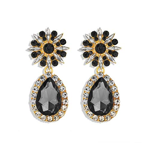 Without logo ZCPCS All Black Color Metal Crystal Acrylic Drop Earrings Lady Girls Handmade Party Statement Jewelry Accessories A568 (Metal Color : Brownish Yellow)