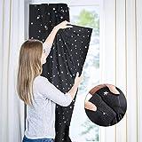 Tragbare Verdunkelungsrollo mit Saugnäpfen Sterne Vorhänge Abnehmbar Reisevorhang ideal als Sonnenschutz und Sichtschutz für Dachfenster Kinderzimmer und Reisen, 138 x 200 cm Schwar - 3