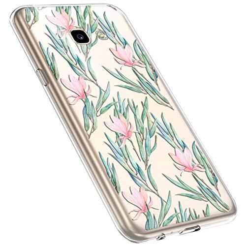 MoreChioce Coque Galaxy A3 2017,Compatible avec Coque Samsung Galaxy A3 2017 Silicone Fleur,Jolie Ultra Mince Transparent TPU Housse de Protection Souple Silicone Bumper Defender,Branche Fleur #6