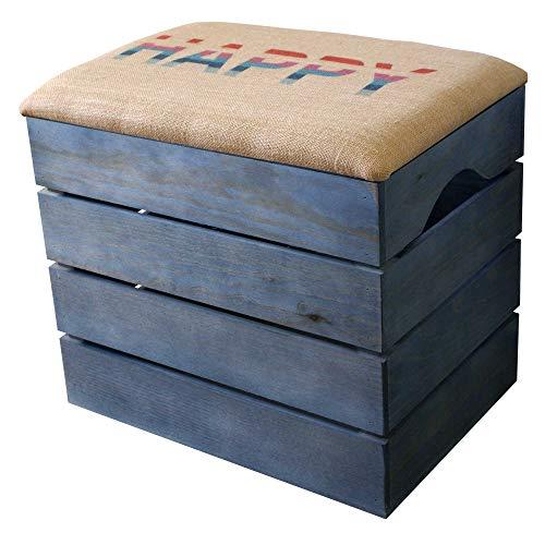 Liza Line Mueble Baúl de Madera (Azul Petróleo), Banco de Almacenamiento con Asiento Acolchado, Tela Natural. Puff, Taburete. Guardar, Ordenar. Pino Macizo. Happy - 51x47x35cm