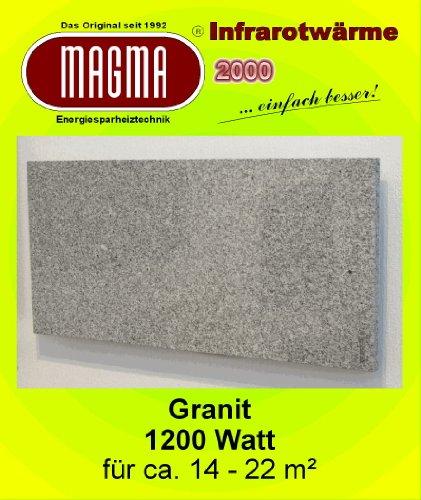 Magma Infrarotheizung 1200Watt (Granit grau-weiß) steckerfertig, OHNE Steckdosenregler
