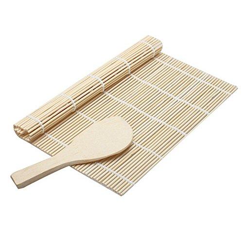 Chytaii Tapis de Roller Rouleau Natte à Sushi en Bambou avec Cuillère à Riz en Bois Kit Ustensiles de Cuisine Japonais