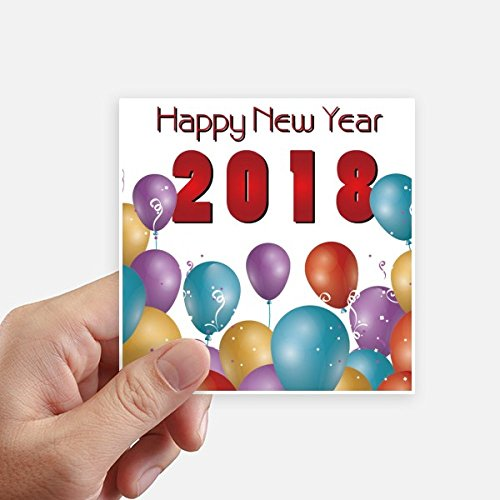 DIYthinker 2018 Ballon Jaar Van De Hond Gelukkig Nieuwjaar Vierkante Stickers 10 Cm Wandkoffer Laptop Motobike Decal 8 Stks