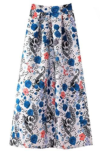 Primavera Y Verano Faldas Retro para Mujer Falda Larga con Dobladillo Grande Informal De Lunares