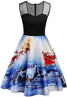 Yivise - Vestito da donna in pizzo, con stampa Babbo Natale, taglia XL-5XL