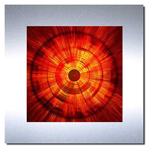 Bild auf Metall - FIRE - abstrakte Bilder Moderne Kunst - Metallbild Limitierte Edition Wandschmuck Aluminium im Edelstahl-Design - Wandverzierung Wandbilde