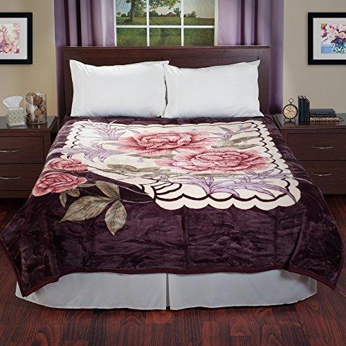 Lavish Home 66-B2441 Rose Heavy Thick Plush Mink Blanket-8 Pound