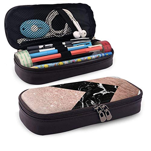 Rose Gold Black with Zipperhite Marble Triangles Geometric Portable Leather Pencil Case Pencil Bag Pouch with Zipper