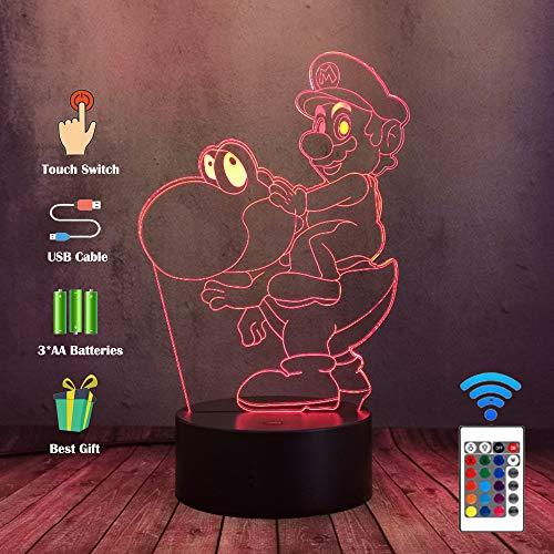 Preisvergleich Produktbild Spiel Super Mario Bros - Reiten Sie eine Yoshi Dinosaurier Actionfigur Lampe - 3D LED Schlafzimmer Home Decor - 7 Farben ändern Nachtlicht - Kind Kinder Baby Geschenke Spielzeug - für Weihnachten