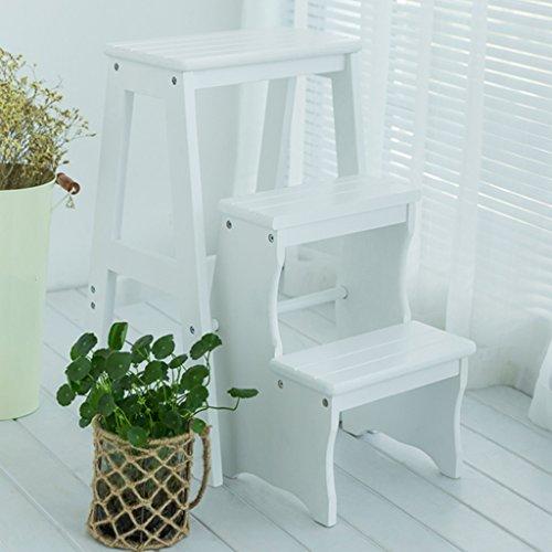 LIANG 3 Schritt-Leiter mit Griff-Schritt-Sicherheits-Rutschfestem Hochleistungs-Multifunktionskombination Kreative Leiter-Schemel-Farbe optional freigestellt, 38.5 * 20 * 64.5cm (Color : White)