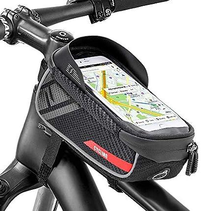 Jooheli Bolsa para cuadro de bicicleta, resistente al agua, con pantalla táctil de TPU, soporte impermeable para smartphone de menos de 6 pulgadas y orificio para auriculares
