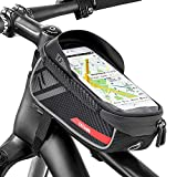 Jooheli Fahrrad Rahmentasche, Wasserdicht Rahmentasche Fahrrad Rahmentasche mit TPU-Touchscreen, wasserdicht handyhalterung für Smartphone unter 6 Zoll und Kopfhörerloch
