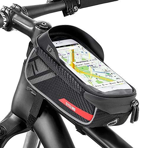 Jooheli Fahrrad Rahmentasche, Wasserdicht Rahmentasche Fahrrad Rahmentasche mit TPU-Touchscreen, wasserdicht handyhalterung für Smartphone unter 6.2 Zoll und Kopfhörerloch