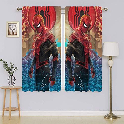 Amazing S-pi-der-Man Movie Poster Living Room Window Curtain Panels, Energy Saving Blackout Draperies Keep Warm Draperies, Sliding Door Drapes for Living Room W55' x L45'