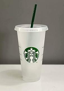 كوب بلاستيكي للمشروبات الباردة قابل لاعادة الاستخدام بشعار حورية من ستاربكس، 710 مل