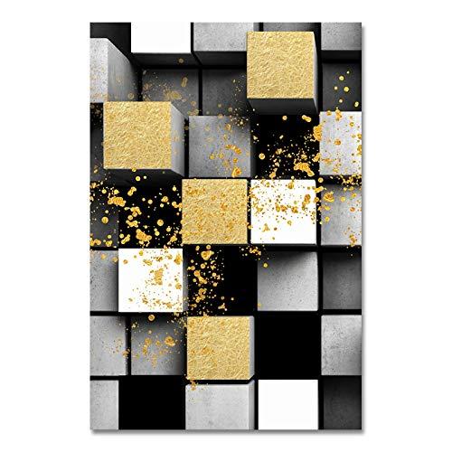 Cuadro de bloque de visión abstracta Impresiones en lienzo Póster de arte de pared Cuadros decorativos para el hogar para la decoración de la sala de estar 21x30cm (8x12in) Sin marco