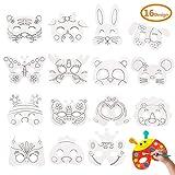 Sibosen 16pcs Kids DIY Blank Graffiti Masks Children Paper Masks Bulk DIY Animal Craft Mask for Parties/Cosplay/Halloween/Kids' Hand Painting Art Crafts