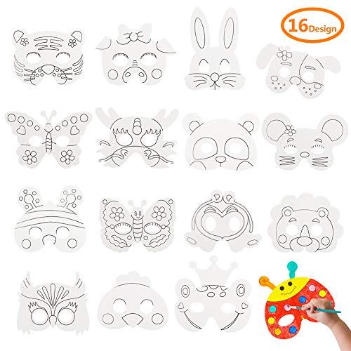 Sibosen 16pcs Kids DIY Blank Graffiti Masks Children Paper Masks Bulk DIY Animal Craft Mask for Parties/Cosplay/Halloween/Kids
