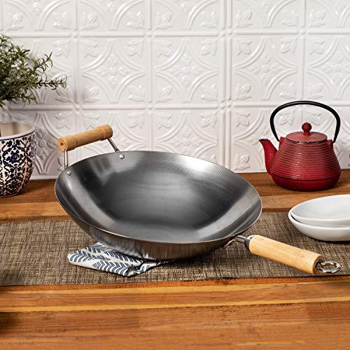 Joyce Chen 22-0040, Pro Chef Wok mit flacher Unterseite, mit Excalibur Antihaftbeschichtung, 35,6 cm Wok mit runder Unterseite 14-Inch metall