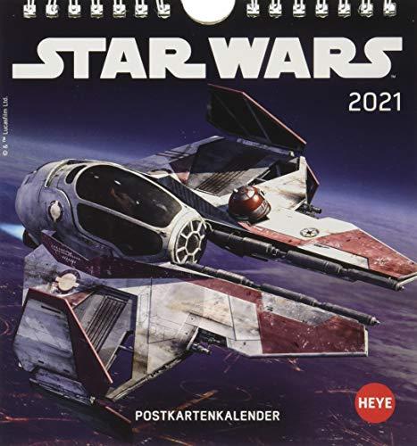 Star Wars Postkartenkalender 2021 - Kalender mit perforierten Postkarten - zum Aufstellen und Aufhängen - mit Monatskalendarium - Format 16 x 17 cm