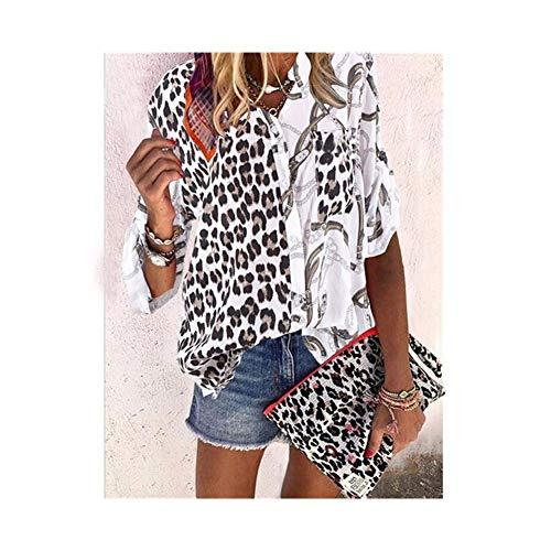 Women's Pockets Stand-up Collar Shirt Bedrukken Hechten Leopard Hals Notch Print (Color : White, Size : 4XL)