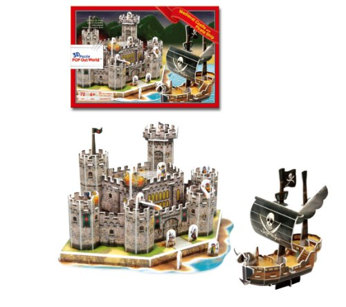 Pirate ship and castle 3D three-dimensional puzzle (japan import)