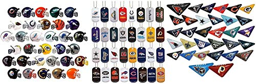 DISCOUNT PARTY AND NOVELTY Mini NFL Football Helmets, Table TOP Footballs, and Dog Tags Complete Sets of 32 Each, Total 96 Licensed Items Custom Bundle TM