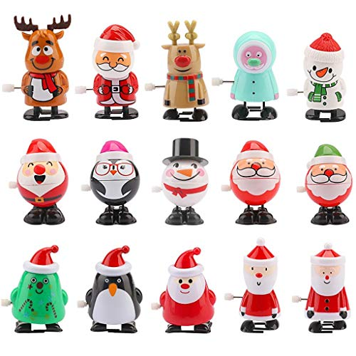 JETTINGBUY 15pcs Christmas Wind Up Toy Jumping Christmas Toys Santa Claus, Snowman, Penguin, Elk Assorted Mini Toy Preschool Toy for Christmas Party Favors