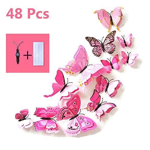 48 Stück 3D Schmetterlinge Deko Wandtattoo mit Magnet,Pastell Aufkleber Fee Schmetterling Butterfly Wandsticker Wandaufkleber Wanddeko Wandkunst Selbst-Klebend für Wohnung Raum Dekoration(Rosa)