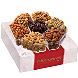 Holiday Nuts Gift Basket, Large 7-Sectional Elegant Nuts Assortment, Gourmet Christmas Food Box Prime Gift, Great for Thanksgiving, Birthday, Mothers, Fathers Day, Corporate Tray By Nut Cravings