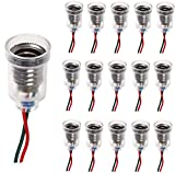 RUNCCI-YUN 15pcs E10 lámparas base E10 screw-mount pequeñas bombillas LED E10 titular base de luz de techo con alambre Socket para el hogar experimento circuito pruebas eléctricas Accesorios