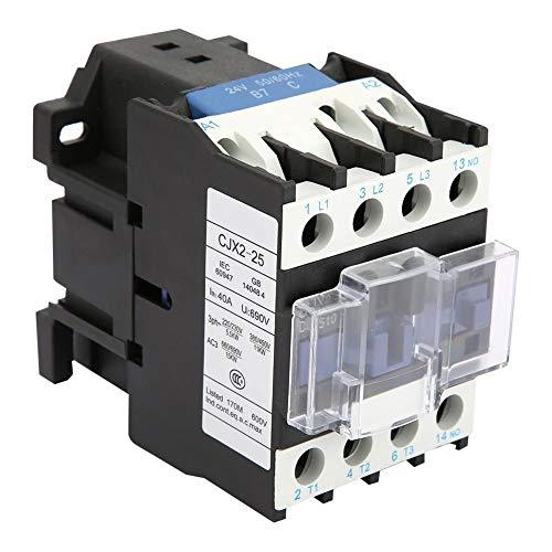 Contactor Industrial Sobre Riel Cjx2-2510 - Contactor Eléctrico Industrial con Alimentación de 25 A Y Tensión de Bobina 24 Vac/36 Vdc/48 Vac/110 Vac/380 Vac (opcional) (24 Vac)