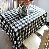 YOUYUANF Antivegetativa per tovagliette da tavola Protezione da tavoloGriglia in Bianco e nero130x180cm