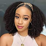 Veravicky Curly Human Hair Wigs for Black Women, 9A Kinky Curly Headband Wigs Human Hair, 16 inch Afro Kinky Curly None Lace Front Wig Human Hair Headband Wigs Natural Color