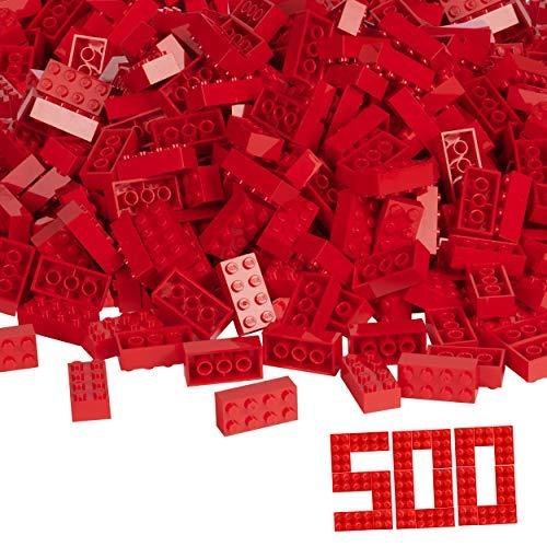 Simba Blox, 104118922, 500 rode bouwstenen voor kinderen vanaf 3 jaar, 8 stenen, in doos, met vulbeker, volledig compatibel met vele andere fabrikanten