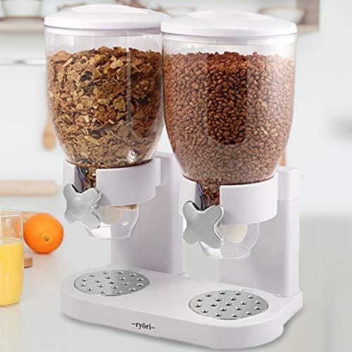 Ryori - Dispenser da cucina per cerali e alimenti secchi, con contenitori ermetici in plastica trasparente, ottimi per il controllo delle porzioni e p