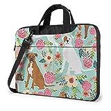 Laptop Messenger Bag Dog Boxers Vintage Florals Waterproof Notebook Sleeve Shoulder Bag Laptop Carrying Case Handbag with Strap,Compatible with MacBook Tablet Ultrabook (13 in,14 in)