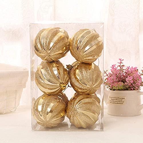 6 Pezzi di Ornamenti per la Palla di Natale Glitter per L'Albero di Natale Palla appesa per la Festa di Festa Negozio di Decorazioni Natalizie d'oro