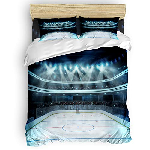 4pcs Full Bedding Duvet Cover Set,Hockey Photo of a Sports Arena Full of People Fans Audience Tournament Match Soft and Breathable Cover Sets with Zipper Closure & Corner Ties