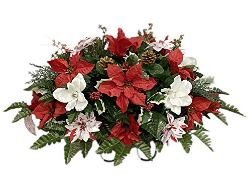 SC3256 Cemetery Flower, Christmas Cemetery Arrangement , Headstone Saddle, Grave, Tombstone Arrangement, Cemetery Flowers SC3256