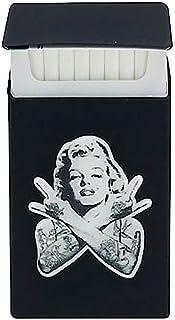 Custodia per sigarette con immagine stile tatoo di Marilyn Monroe, sottile, colore nero