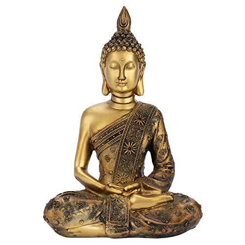 Meditating Buddha Statue Figurine, Buddha Figurine Gold,Meditating Sitting Buddhas, Thai Sitting Buddha Statue, Buddha Statues for Meditation, Decorative Figurine Praying Buddha Statue -7.87'