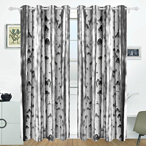 Jstel Verdunkelungsvorhänge Thermo-Vorhänge Fenster Behandlung für Schlafzimmer Wohnzimmer Vorhänge 2 Paneele Sets 213,4 cm Länge, Polyester, Birkenbaum-Vorhänge., 84 x55 in x 2pcs