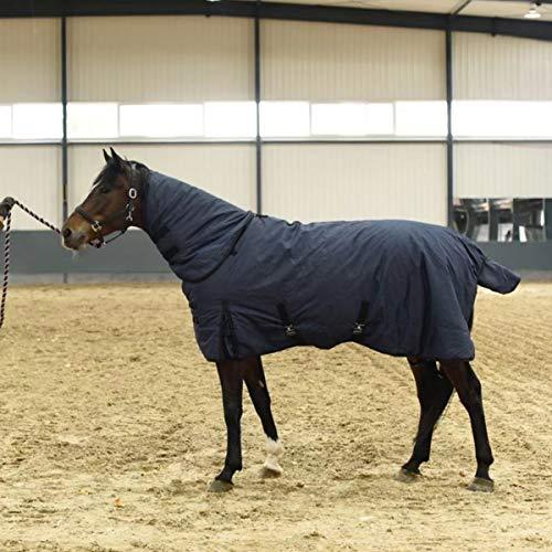 JUEJIDP Alfombra de Caballo Pony de Peso Pesado Manta para Exteriores 900D Impermeable Transpirable con Correas Cruzadas, Manta para Exteriores (Relleno de 300 g) Color Azul Oscuro,125