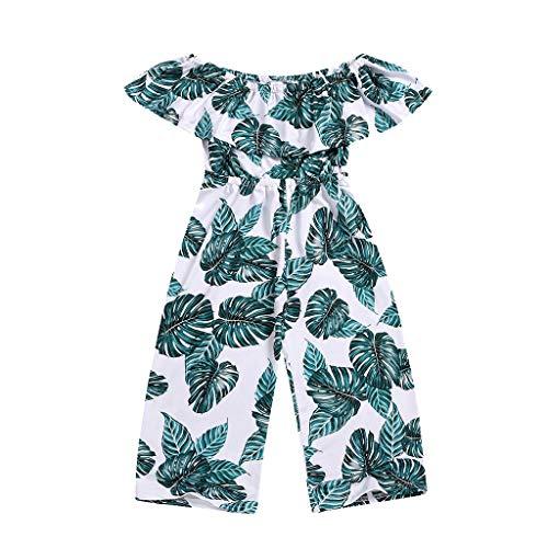 Moneycom Enfant en Bas âge Enfants Filles Hors épaule Volants Feuille Impression Barboteuse vêtements de Combinaison (18-24 Mois)