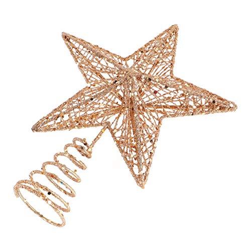 Amosfun - Puntale per albero di Natale con stelle glitterate in ferro 3D, a cinque punte, decorazione natalizia in ferro, decorazione per albero di Natale, decorazione per feste