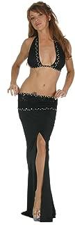 Inc Women's Sexy Strech Poly Lace Rhinestones Black Top & Skirt